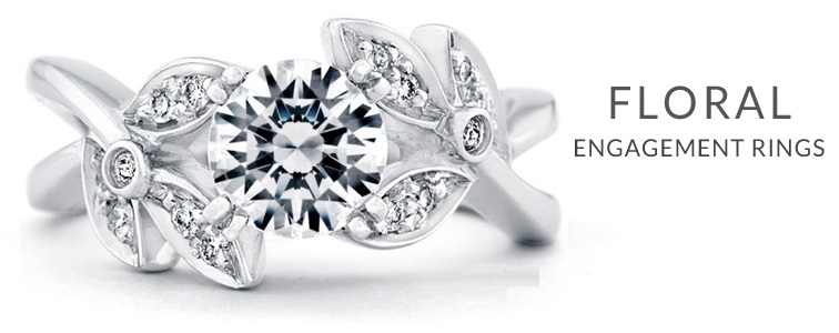 oval diamond rings with designs inspired by nature flowers